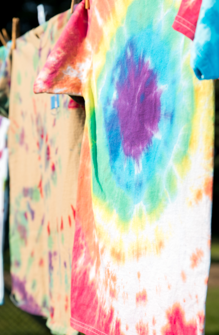 Everyone has a few old t-shirts they're dying to get rid of, but with these fun upcycled t-shirts, you won't even have to! Tie dye is a classic!