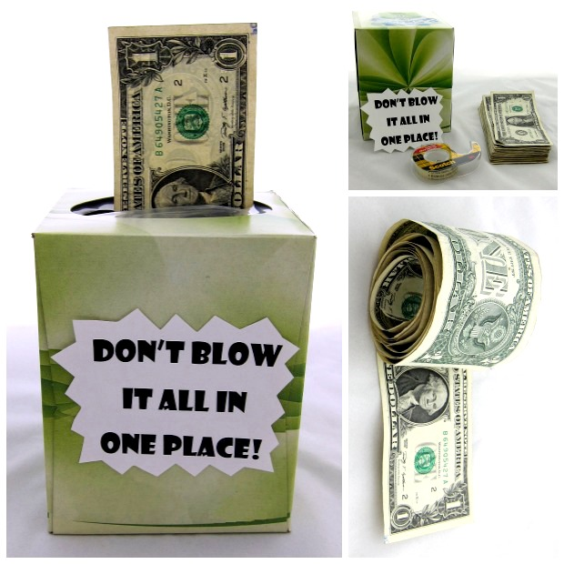 Creative Ways To Give Money As A Gift- a tissue box full of money. The box says don't blow it all in one place.
