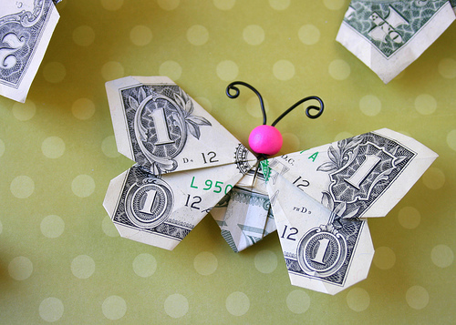 Creative Ways To Give Money As A Gift-origami butterfly made out of a dollar bill