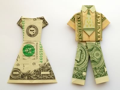 Creative Ways To Give Money As A Gift- dollar bills made into clothes that are for a man and a woman.