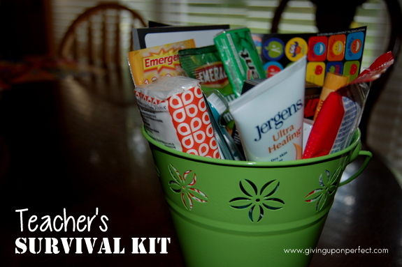 Job survival basket kit for someone just beginning a new job or for