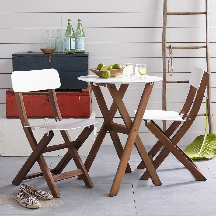 wooden bistro table and chairs. Things to put on a front porch.