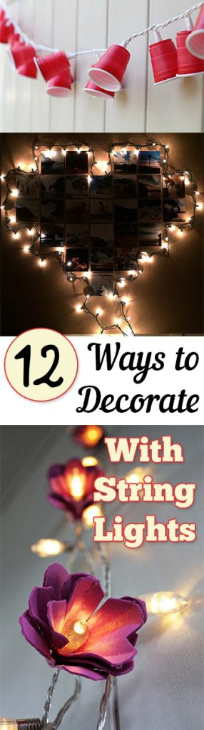 How to Decorate With String Lights, Decorating With String Lights, String Light Crafts, Things to Do With Old Christmas Lights, Christmas Light Crafts, Decorating Hacks, Cool Decorating Ideas, Popular