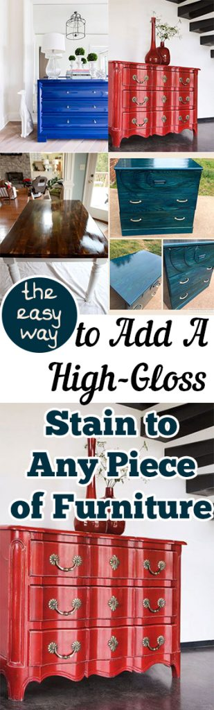 The Easy Way to Add A High-Gloss Stain to Any Piece of Furniture| How to Stain Furniture, High Gloss Stain, How to Stain Furniture, DIY Furniture Ideas, DIY Home, DIY Home Decor, Furniture Remodel, How to Repaint Your Furniture, DIY Tutorial