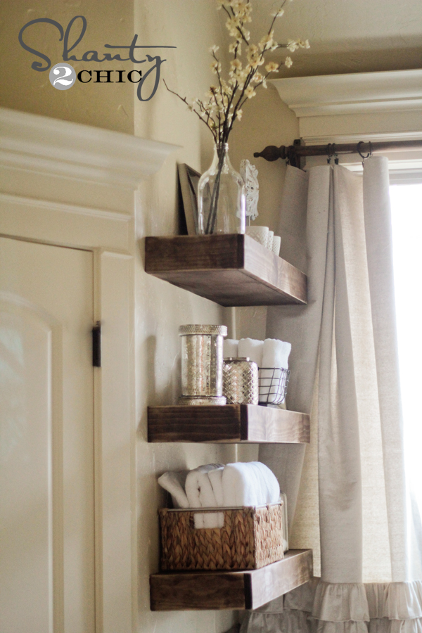 bathroom wall shelves ideas diy floating shelf projects and tutorials my list of lists 16194
