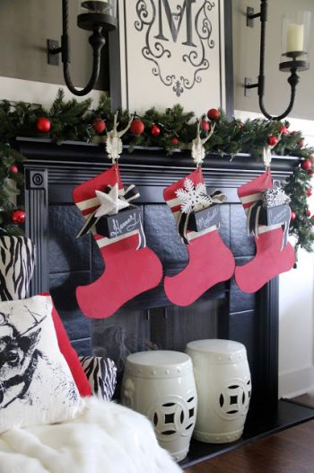 Are these oversized wooden stockings cute or what? If you want to make your own oversized wooden stocking, learn how to here. You will love them!