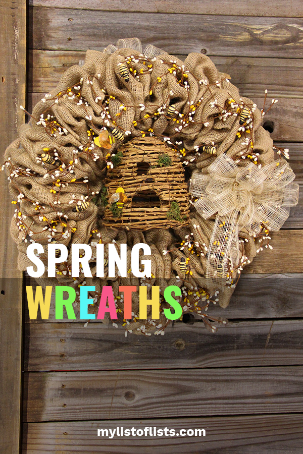 Most people are so excited when the cold of winter is on its way out. They can't wait for spring! One of my favorite home decor items is a wreath. Spring wreaths are so happy. They just make people feel good. Today's post is all about that.. spring wreaths that make people feel happy. Read on to learn more about ideas for above the mantel, on the front door, ideas from the dollar store and more. #springwreathideas #diyspringwreaths #springcrafts