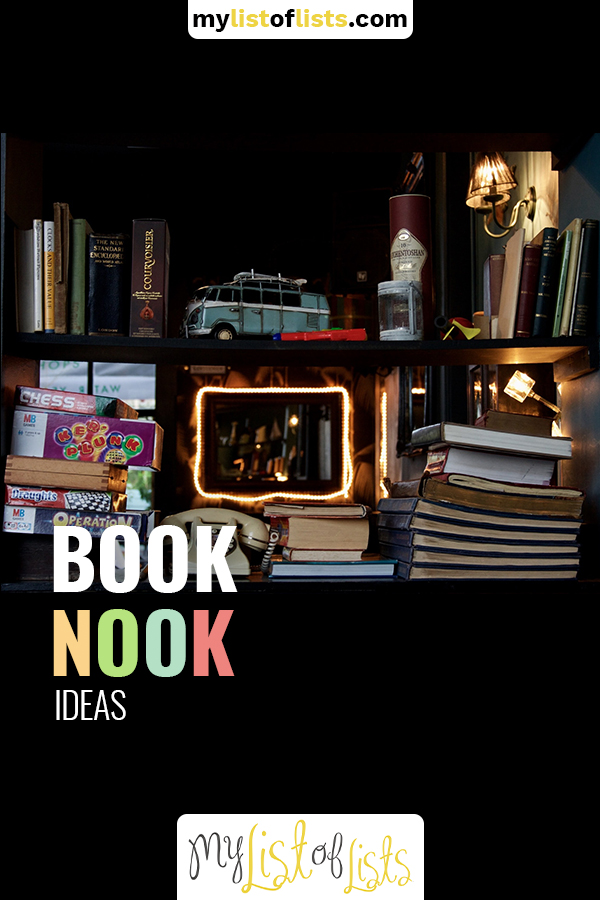 Book nooks are all the rage in home design. They make cozy spaces out of closets, under stairs and what would other wise be an unfriendly corners. Read the post to learn about why every book worm needs a book nook and how you can make one. Once you're done, you can grab a book and enjoy relaxing. Don't forget a cup of hot cocoa or tea. #booknook #homedesignideas #cornerbooknook