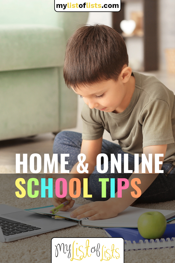 Home schooling can be hard for any kid (or parent) to adjust to. Use these online school tips to best plan your days and manage your time. Read these tips for online school success! #mylistoflistsblog #homeschoolingtips #onlinelearningtips