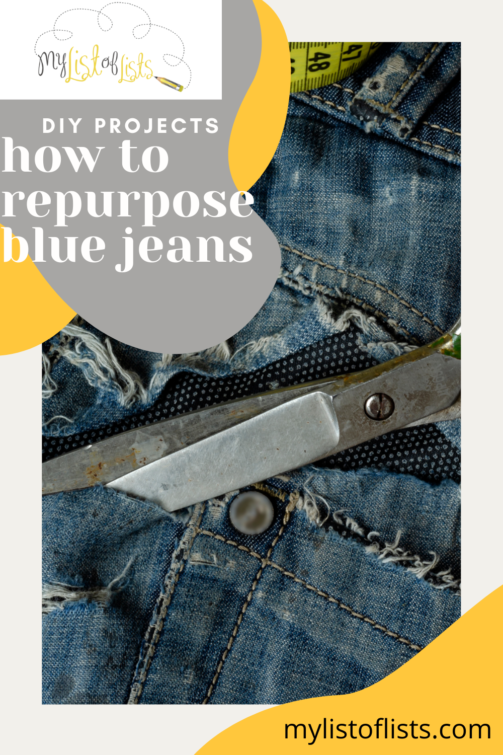 Everyone has an old pair of blue jeans that doesn't quite fit anymore. Instead of throwing those away, turn them into something awesome with these easy ways to repurpose blue jeans. These DIY ideas are super simple. #diy #projects #mylistoflistsblog