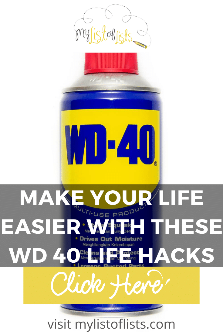 WD 40 isn't just for squeaky doors. In fact, it has so many uses that make life easier by saving you money. You are curious, right? Can't blame you. Read the post and then stock up on WD 40. These tips will change your life #mylistoflistsblog #tips #lifehacks