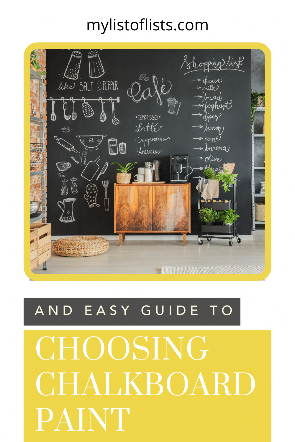 Mylistoflists.com has all you need to know about a whole range of topics! If you've been getting crafty, learn how to make new mediums! Find out what chalkboard paint you should be using!